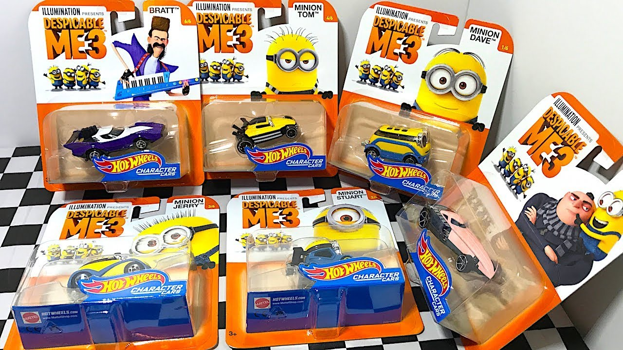 Hot Wheels Despicable Me 3 Minions Character Cars Youtube