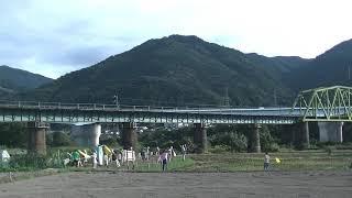 20211018 JR四国 土讃線 吉野川橋梁 上り南風16号 あかいアンパンマン列車、上り四国まんなか千年ものがたり