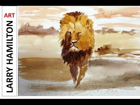 "Paint Along with Larry Hamilton - Watercolor August 11, 2015 ""Cecil the Lion"""