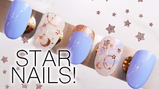Star And Moon Nail Art Tutorial! | How To Apply Nail Stickers | Nail Cuff Design | Rose Gold Nails
