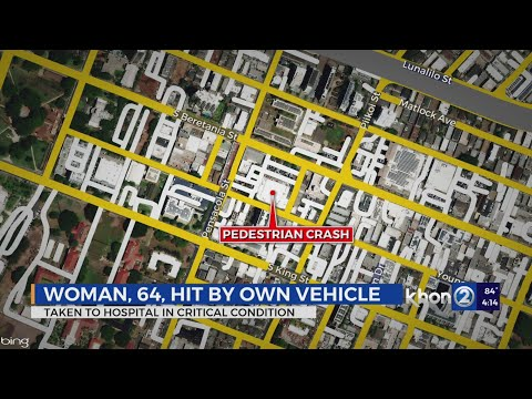 Woman critically injured after being hit by her own vehicle in parking lot