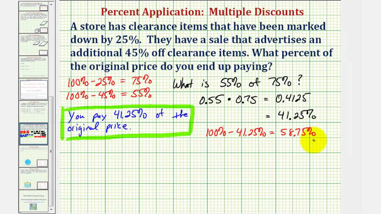 how to work out percentage discounts
