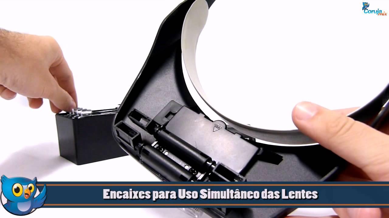 Lupa de Cabeça   Pala Profissional com 3 LEDS e 4 Lentes de aumento -  MG81001-E - VUEMAX-PRO - YouTube 34fc58d34f