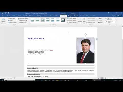 how to add picture resume and CV bangala,how to insert photo in cv bangal Tutorial