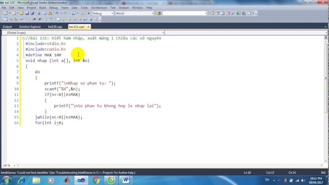 Bài 131: Viết hàm nhập, xuất mảng 1 chiều các số nguyên