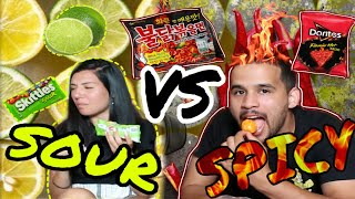 Spicy vs. Sour FOOD CHALLENGE!! (HE CRIED)