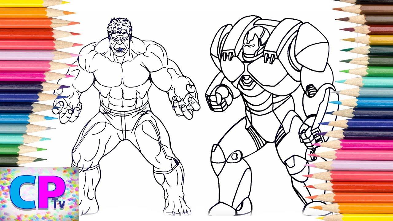 Hulk vs iron man hulkbuster coloring pages for kids how to color hulk and iron man hulkbuster