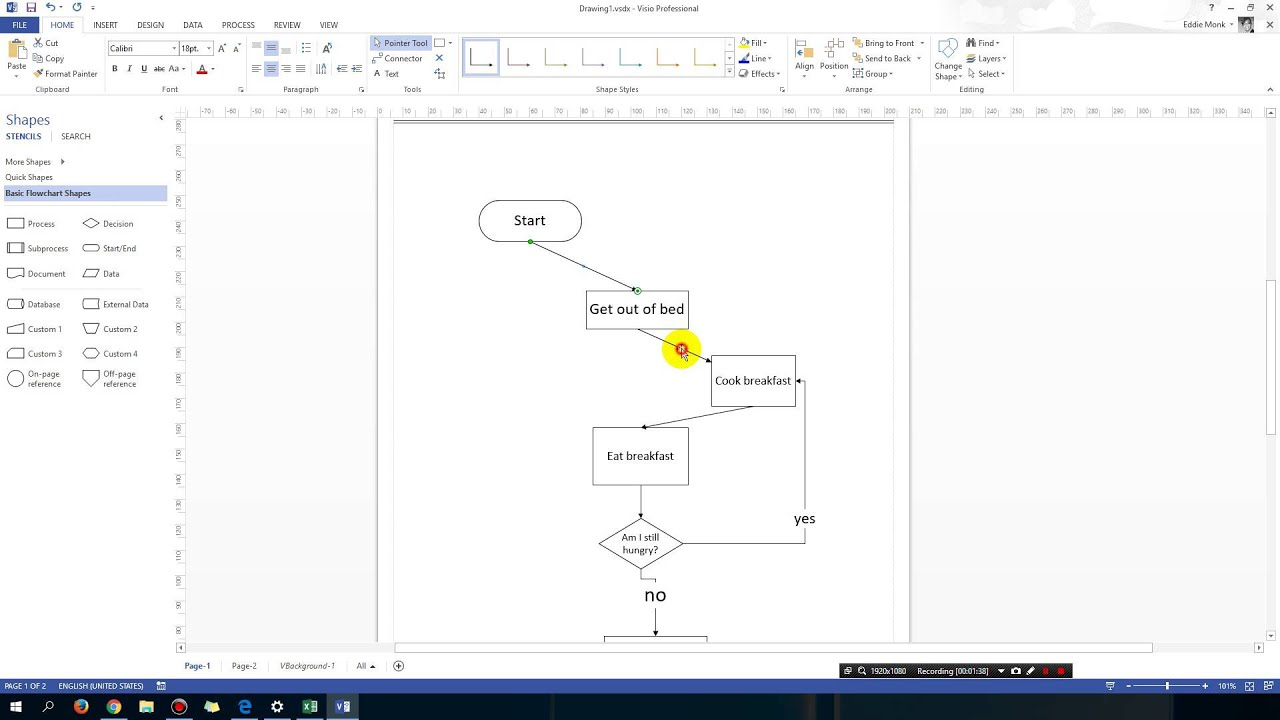 Microsoft visio tricks adding connection points diagonal arrows also rh youtube