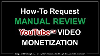 How to Request Manual Review YouTube Video Monetization