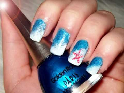 Starfish on seawaves nail design - Starfish On Seawaves Nail Design - YouTube