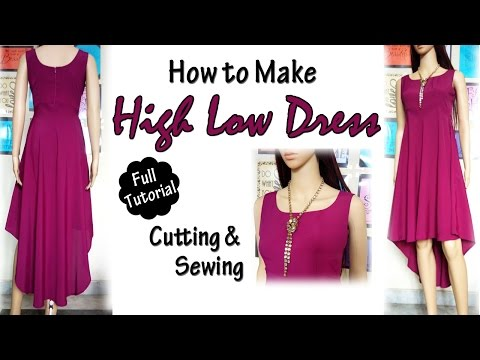HIGH LOW DRESS - Cutting & Sewing ( Full Tutorial ) | How to Sew  #HighLowDress