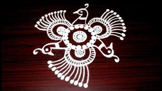Easy And Simple Peacock Rangoli || 5X3 Latest Kolam Designs || Muggulu With Dots