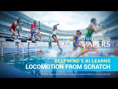 DeepMind's AI Learns Locomotion From Scratch | Two Minute Papers #190