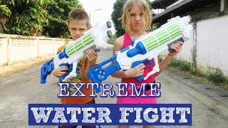 Extreme Water FIGHT on the Streets!!!  GUNS and BUCKETS  Thailand Adventure