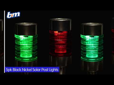 Solar Powered Nickel Post Lights - Colour Changing | B&M Stores