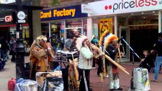 Red Indian Musicians Playing on Flute Live in Hounslow High Street London