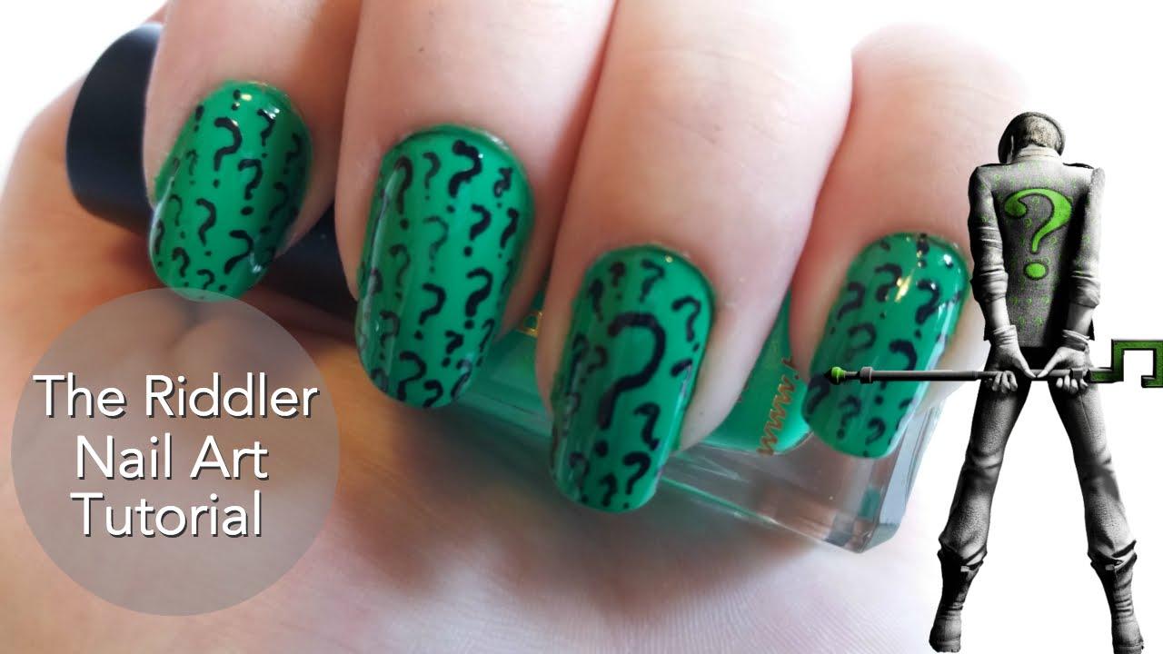 The Riddler Nail Art Tutorial - YouTube