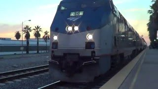 1-13-16! Close CALL! Sunset Limited nearly KILLS moron at Ontario, CA amtrak station!