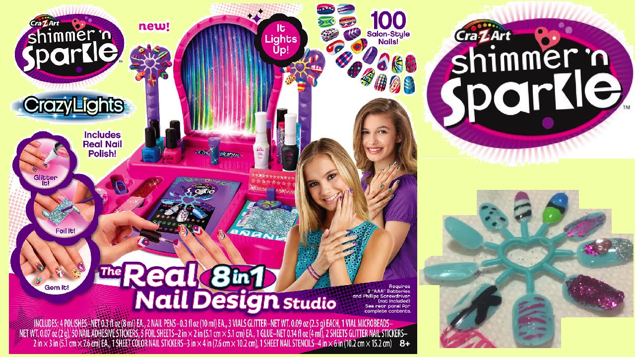 Cra-Z-Art Shimmer and Sparkle Crazy Lights Super Nail Salon Kit ...