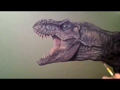 How to draw Tyrannosaurus Rex from Jurassic Park - realistic drawing