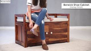 Shoe Racks – Shop Berwick Designer Shoe cabinet in Honey Finish From Wooden Street Gift your high heels, stylish ballerinas,