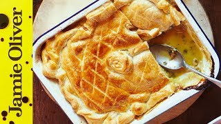 Jamie's Quick Chicken & Mushroom Pie(This easy chicken pie recipe is dead simple and can be knocked up in no time at all. Perfect with greens and mash, it's a great winter warmer. Jamie's here to ..., 2014-02-23T12:30:01.000Z)