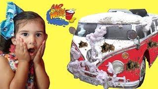 Sam Plays Car Wash w/ New VW Van Ride on Car toy | Nursery Rhymes Songs