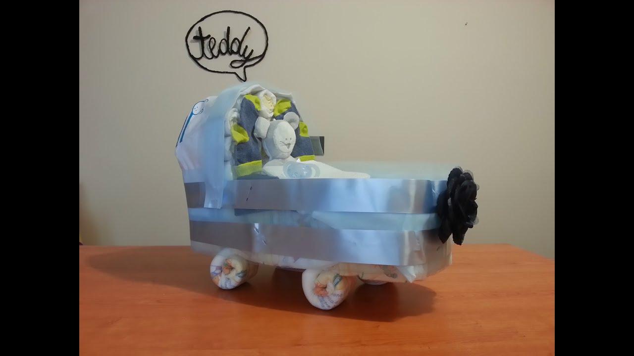 Super TUTORIAL: TORTA DI PANNOLINI a forma di CARROZZINA (Baby Carriage  FS15