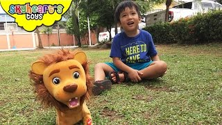 Toddler found a Baby Lion in the Park! ----- Animal Training Stuffed Kokum the Lion toys for kids