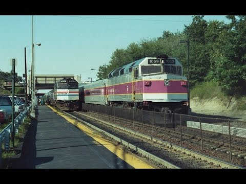 Amtrak, MBTA & Conrail action at Rt.128 station Dedham,MA 08/21/1992