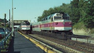 Amtrak, MBTA & Conrail action at Rt.128 station Dedham,MA 08/21/1992