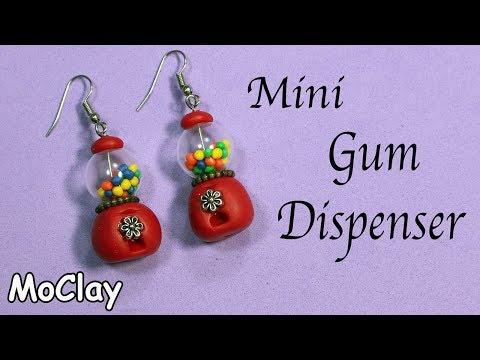 Mini Gumball dispenser - Diy earrings - Polymer clay tutorial