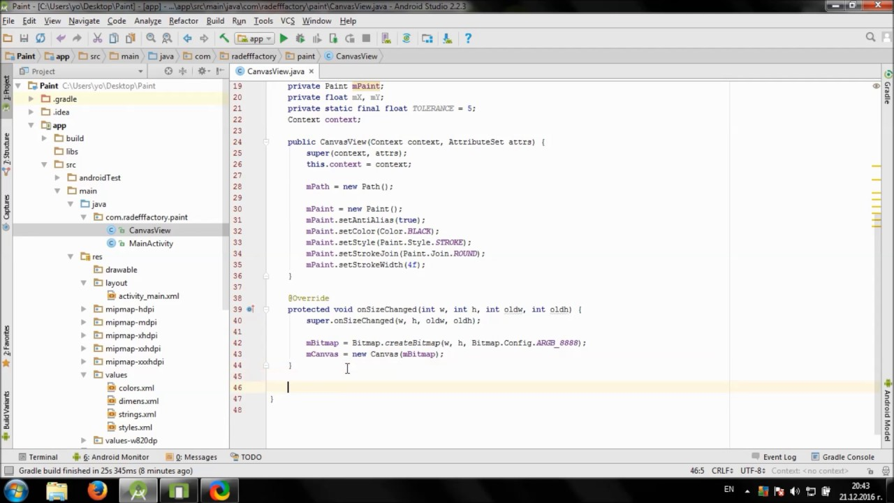 develop simple paint app in android studio - youtube