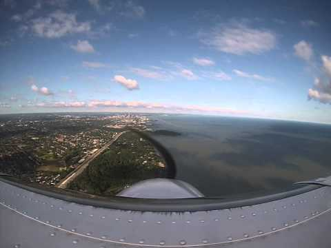Flying IMC (in the clouds), ILS approach into downtown Cleveland and flying over Lake Erie