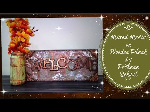 Mixed media wooden plank || Door /Wall Hanging