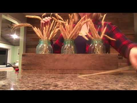Barn Wood Box with Fall Decor (Blue Mason Jars + Long Stem Grains)