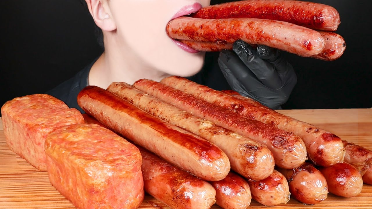 ASMR SAUSAGE SPAM CHEESY MUKBANG COOKING 대왕 소세지 스팸 먹방 ソーセージ スパム 咀嚼音 Sosis EATING SOUNDS