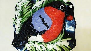 Салат СНЕГИРЬ на Новый год. МК по оформлению салата в виде СНЕГИРЯ.