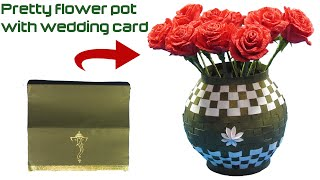 How to make pretty flower vase using wedding card