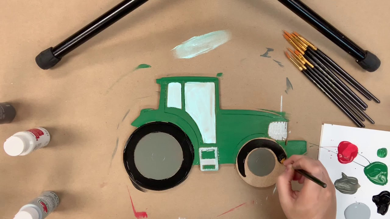 Tractor Wood Cutout, Unfinished Craft, Paint by Line