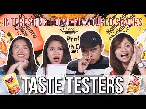 INTERESTING SINGAPORE SNACKS INCLUDING CHICKEN RICE POPCORN?! | Taste Testers | EP 83