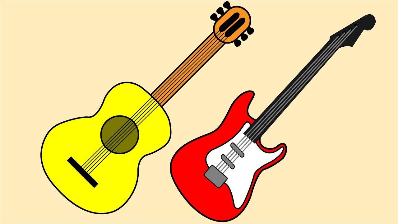 Coloring Guitars Videos For Kids Colorear Guitarras