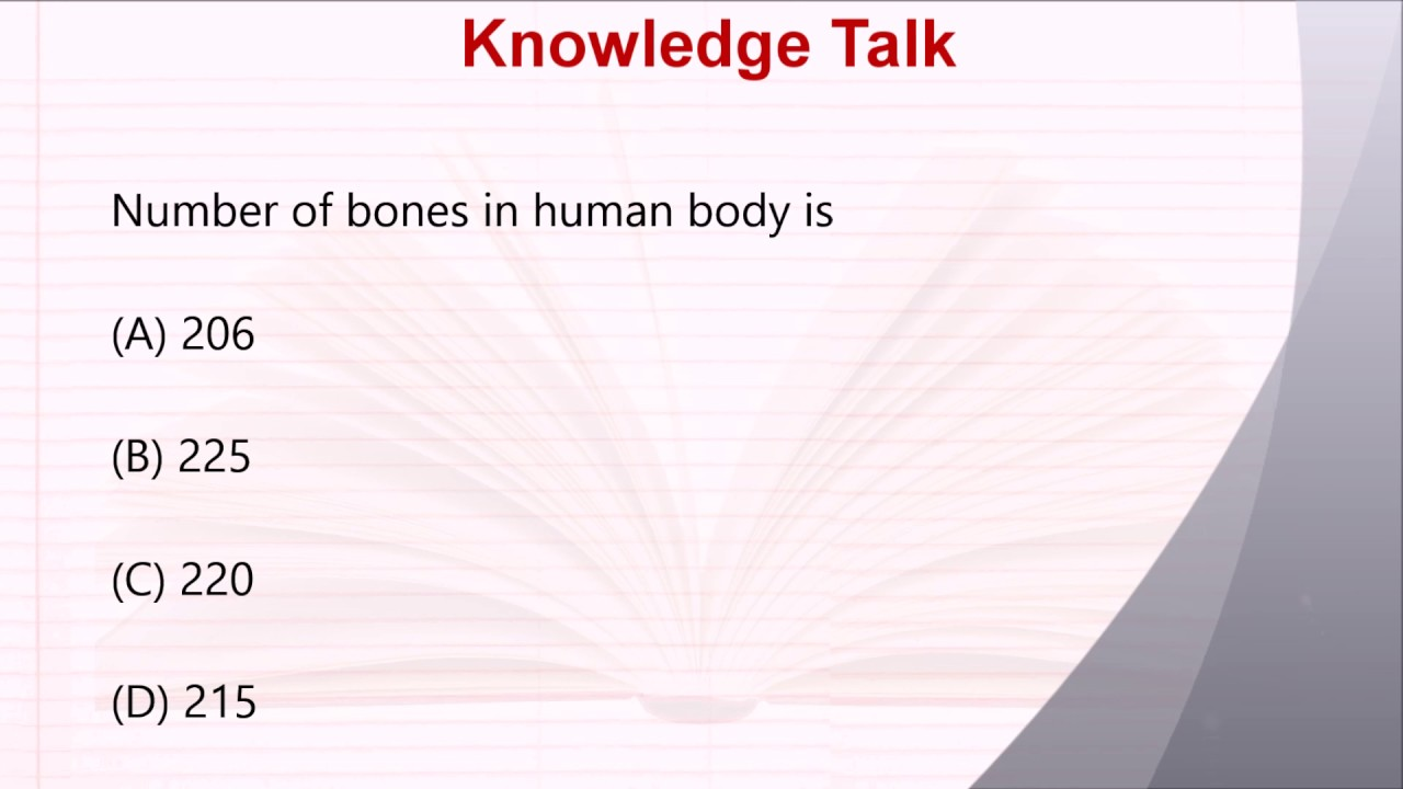 Biology Questions Answers Number Of Bones In Human Body Is
