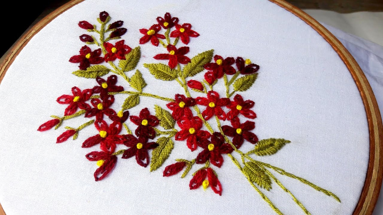 Hand Embroidery Double Daisy Stitch Flower Design By Nakshi Katha