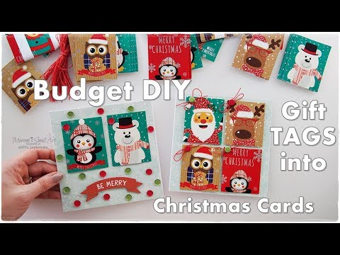 DIY Budget Christmas Cards made from old GIFT TAGS ♡ Maremi's Small Art ♡