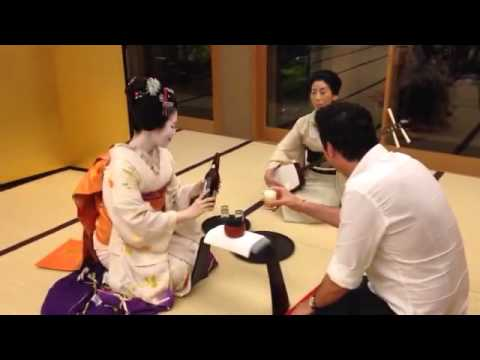 Drinking games  with a Geisha in Japan
