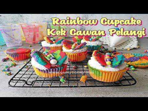 Resepi Kek Cawan Pelangi / Rainbow Cupcake Yang Sedap Dan Mudah