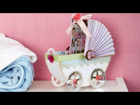 Pink and Blue Prams Die Cut Card Embellishments x 20