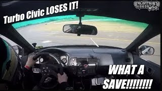Turbo Civic Spins Out! 700HP 150mph Roll Racing Save