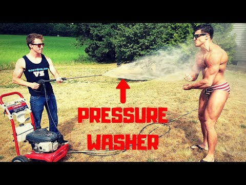 Peeling my SKIN OFF with a PRESSURE WASHER   Bodybuilder VS Power Washer Challenge Fail